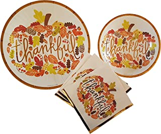 Fall Theme Party Supplies Thankful Pumpkin Thanksgiving Party Supplies 20 count Extra Large Paper Plates, Dessert Plates & Large Napkins