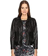 Just Cavalli - Fringe Leather Button Up Jacket