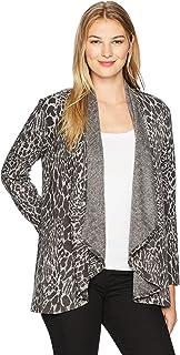 Ruby Rd. Chaqueta de Punto de Punto metálico para Mujer, Talla Grande, diseño de Leopardo