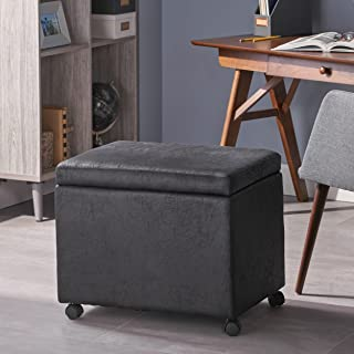 Christopher Knight Home Tina Traditional Microfiber Storage Ottoman for Home or Office, Black