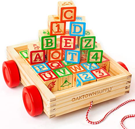 Oaktown Supply Building Blocks for Toddlers 1-3 Years Old - 30 Large, Stackable, Wooden Baby Blocks with Alphabet and Number Icons on Every Side - Toy Wagon Included