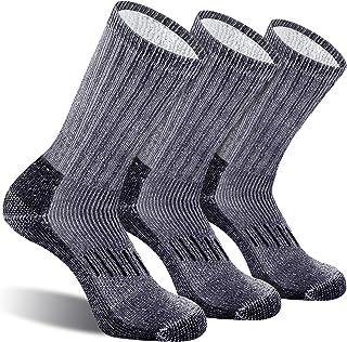 CelerSport Men's Wool Hiking Socks with Full Cushioned Warm Thermal Crew Winter Boot Socks (3 Pairs)
