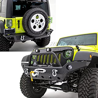 Restyling Factory -Rock Crawler Full Width Front Bumper w/Winch Plate+Rear Bumper with 2
