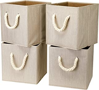 i BKGOO Lot de 4 bacs cubiques de rangement pliables Organisateur de boîte en tissu en bambou beige avec poignée en corde ...