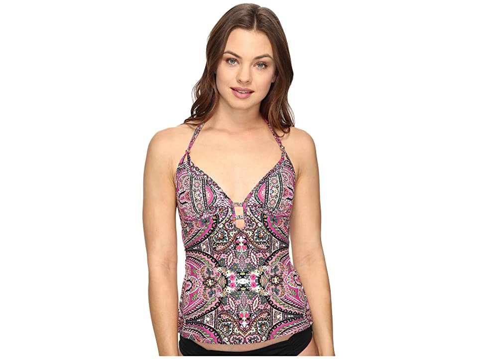Lucky Brand Tapestry Tankini Top (Raspberry) Women