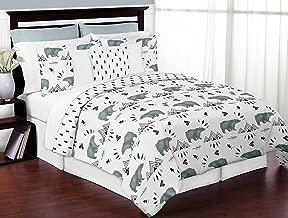 Sweet Jojo Designs 3-Piece Bear Mountain Watercolor Boy Full/Queen Kid Childrens Teen Bedding Comforter Set