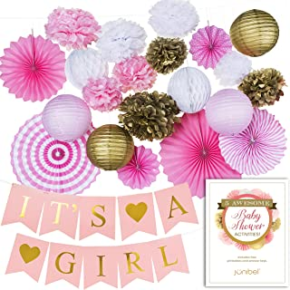 Junibel Premium Baby Shower Decorations for Girl Bundle & Large Its a Girl Pre-Strung Banner, Pink and Gold Decoration Set + Free Printable Games Ebook