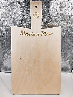 Artigianeria - Tagliere da cucina con manico, realizzato in legno di betulla con incisione personalizzata. Formato 38 cm x...