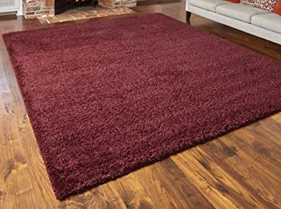 Gertmenian True Shags Collection Red Shag Rug 8x10 - Soft Olefin Yarn 2 Inch Thick in