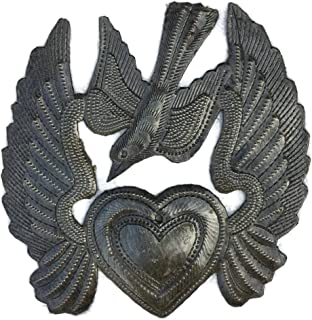 Metal Heart with Wings, Small Milagro Flaming Heart, Flying Heart, Angel Wings, Mini Bird, Ornaments, Handmade 5 in. x 5.25 in.