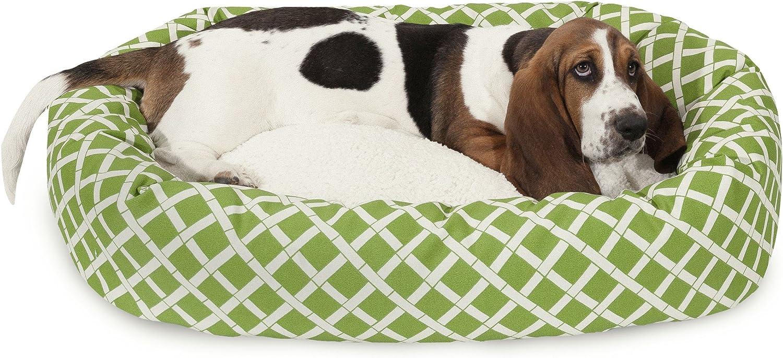 32 inch Sage Bamboo Sherpa Bagel Dog Bed