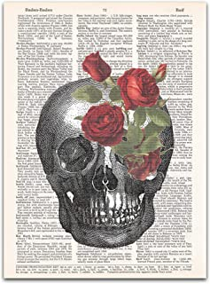 Skull with Red Roses, Halloween Gothic Print, Medical Anatomy, Dictionary Page Art, 8x11 inches, Unframed