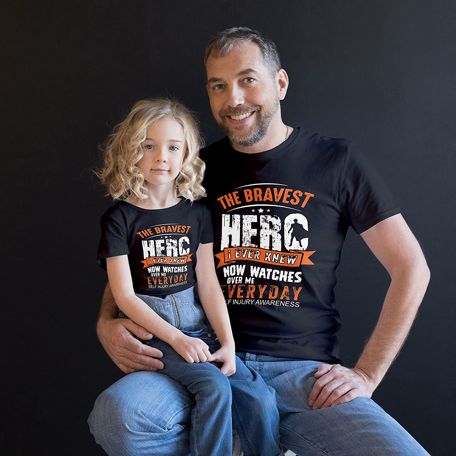 Self Injury Awareness The Bravest Hero Gift For Fathers Day Kids Custom Personalized T-Shirt