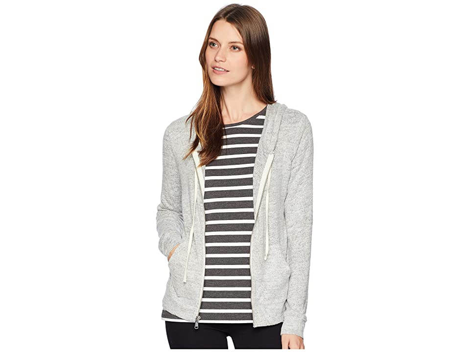 Lucky Brand Hacci Zip-Up Hoodie Sweatshirt (Heather Grey) Women