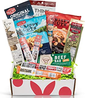 Beef Jerky Sampler Gift Box: Variety Of Healthy Beef Meat Sticks, Pork Rinds, Exotic Jerky, Epic Bars, Chomps Beef Sticks ...