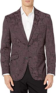 Kenneth Cole Reaction Slim fit Men's Blazer, Burgundy Paisley, 38R