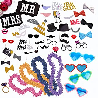 Wedding Photo Booth Props Kit - Paper and 3D Wedding Decorations and Accessories for Precious Memories; Jumbo Heart Glasses; Hawaiian Leis; Bow Ties; Mr. & Mrs. Sign by Scapa Pro
