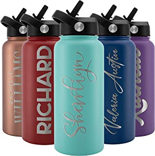 Amazing Items Personalized Water Bottle with Straw Lid, 32 oz - Teal   Custom Stainless Steel Sports Water Bottle w/Name and Text - Double Wall + Vacuum Insulated - Rotating Handle