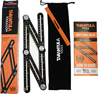Tarantula Tools Multi Angle Measuring Ruler - Angle Template Tool - Black Aluminum Adjustable Angle Ruler - Angle Tool - All Metal No Plastic - Easily Set The Right Measurement, Izer, Angles