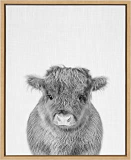 Kate and Laurel Sylvie Baby Cow Framed Canvas Art by Simon Te Tai 18x24 Natural
