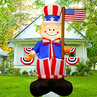 Twinkle Star 6FT Patriotic Independence Day Inflatable, Blow Up 4th of July Lighted Uncle Sam Hold American Flag, Indoor O...