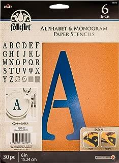 FolkArt 50318 Plaid Stencil Folk-Art Paper Alphabet & Monogram Serif 6