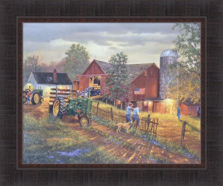 America's Heartland by Dave Barnhouse 20x24 John Deere Tractor Farm Barn Americana Framed Art Print Wall Décor Picture