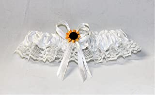 Wedding party ceremony Yellow Sunflower Satin and Lace White Brides Garter