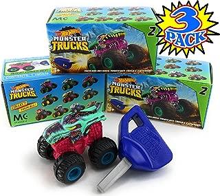 Hot Wheels Monster Trucks Mini Mystery Trucks with Key Launcher Series 2 Blind Box Gift Set Party Bundle - 3 Pack