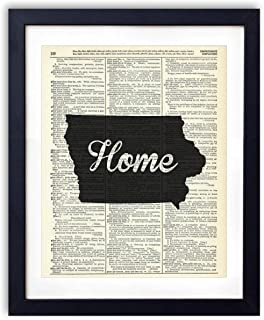 Iowa Home Script Upcycled Vintage Dictionary Art Print 8×10