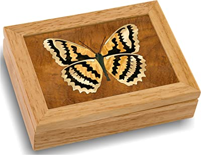 MarqART Wood Butterfly Box - Handmade USA - Unmatched Quality - Unique, No Two are The Same - Original Work of Wood Art. A Butterfly Gift, Ring, Trinket or Wood Jewelry Box (#4124 Butterfly 4x5x1.5)