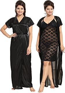 Noty Women's Satin Knee Length & Maxi Night Robe & Night Slip