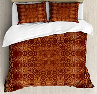 Ambesonne Antique Duvet Cover Set, Vintage Lacy Persian Pattern from Ottoman Empire Palace Carpet Style Art, Decorative 3 Piece Bedding Set with 2 Pillow Shams, King Size, Orange Brown