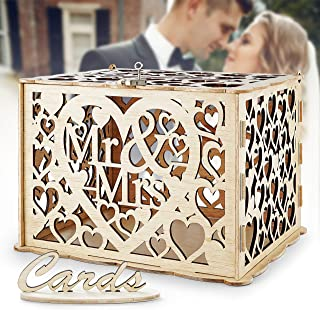 LUTANI Wedding Money Box with Lock for Cards – DIY Wedding Card Box – Wedding Gift Boxes for Baby Showers, Anniversary, Party, Decorations (Natural Color)