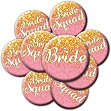 16 Pink and Gold Bride Squad Buttons - Bachelorette Buttons - Bridal Party Buttons - Pink and Gold Bridal Shower