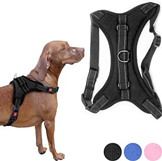 Zenify Pets Dog Harness - Chest Control Grab Adjustable Reflective for Large Dogs (Black, Large)