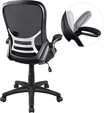Big and Tall Office Chair, Mesh Home Office Desk Chair Comfortable, Swivel Computer Task Chair with Flip-up Arms, Ergonomic H