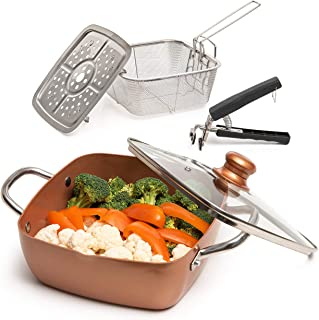 Moss & Stone Copper 5 Piece Set Chef Cookware, Non Stick Pan, Deep Square Pan, Fry Basket, Steamer Rack, Dishwasher & Oven...