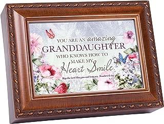 Cottage Garden Granddaughter My Heart Smile Woodgrain Rope Trim Music Box Plays Amazing Grace