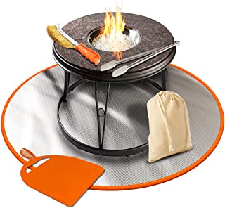 Flamme Mat 36 inches Fireproof Grill Patio Lawn & Deck Protector Outdoor Wood Fire Outside Pits Blanket Charcoal,Chiminea,BBQ Smoker Pad, Camping, Orange