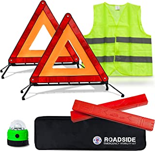 Always Prepared Reflective Car Emergency Roadside Kit for Extra Visibility - Reflective Safety Vests, Roadside Emergency Triangle & LED Light - Roadside Assistance Emergency Kit - Gifts for New Car
