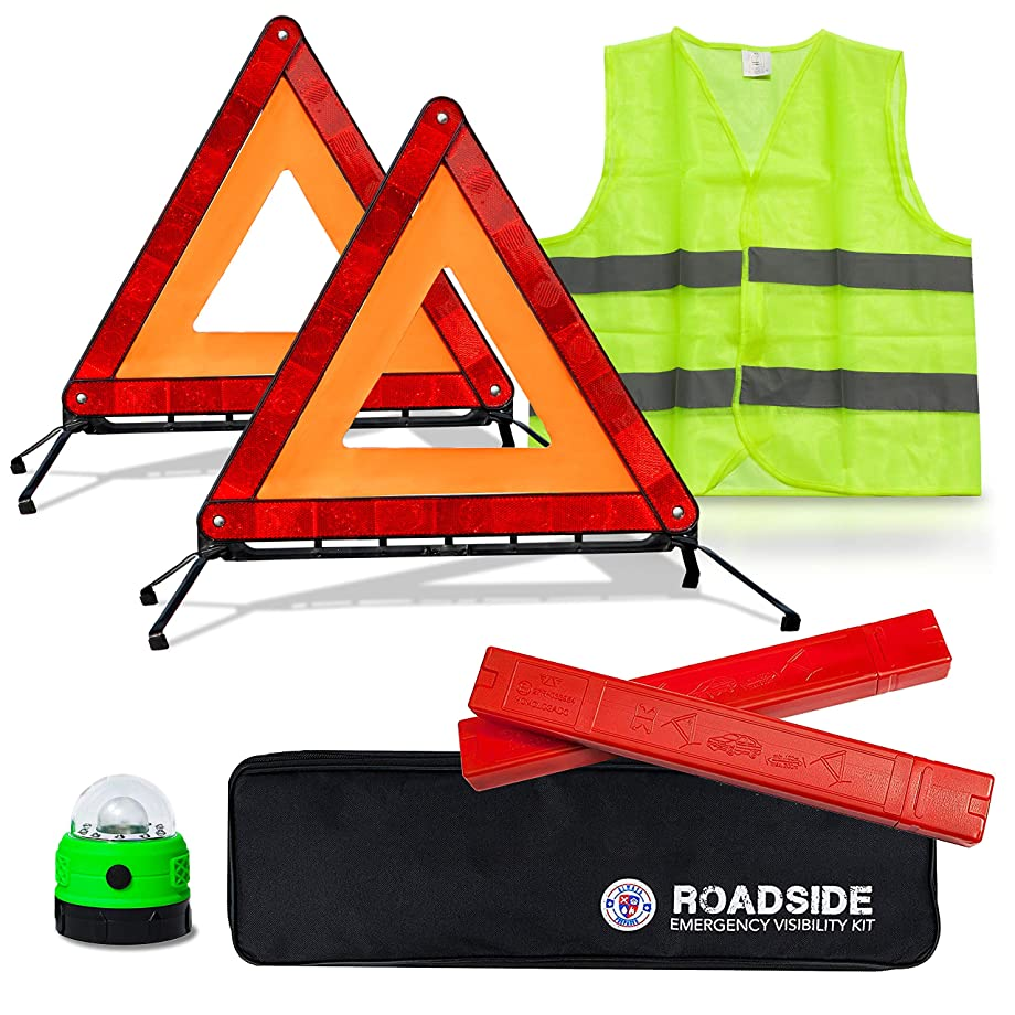 Always Prepared Reflective Car Emergency Roadside Kit for Extra Visibility – Reflective Safety Vests, Roadside Emergency Triangle & LED Light - Roadside Assistance Emergency Kit – Gifts for New Car