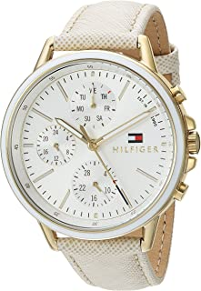 Tommy Hilfiger Women's Casual Sport Stainless Steel Quartz Watch with Leather Calfskin Strap, Champagne, 17 (Model: 1781790)
