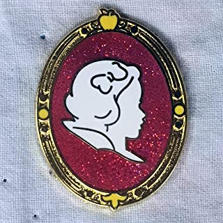 SNOW WHITE Princess Cameo Mystery Collection, an official DISNEY PARK trading pin. The back of the pin has a silver-colored stamped box indicating the pin is PIN TRADING pin, fully tradable at any Disney Park or Store from a Disney cast member