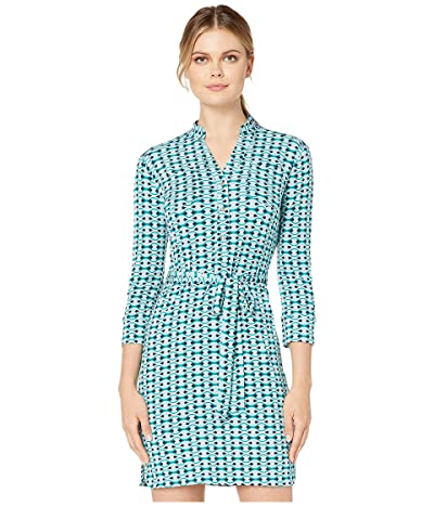 Donna Morgan Buttoned Front Printed Wrap Matte Jersey Dress (Navy/Teal Multi) Women