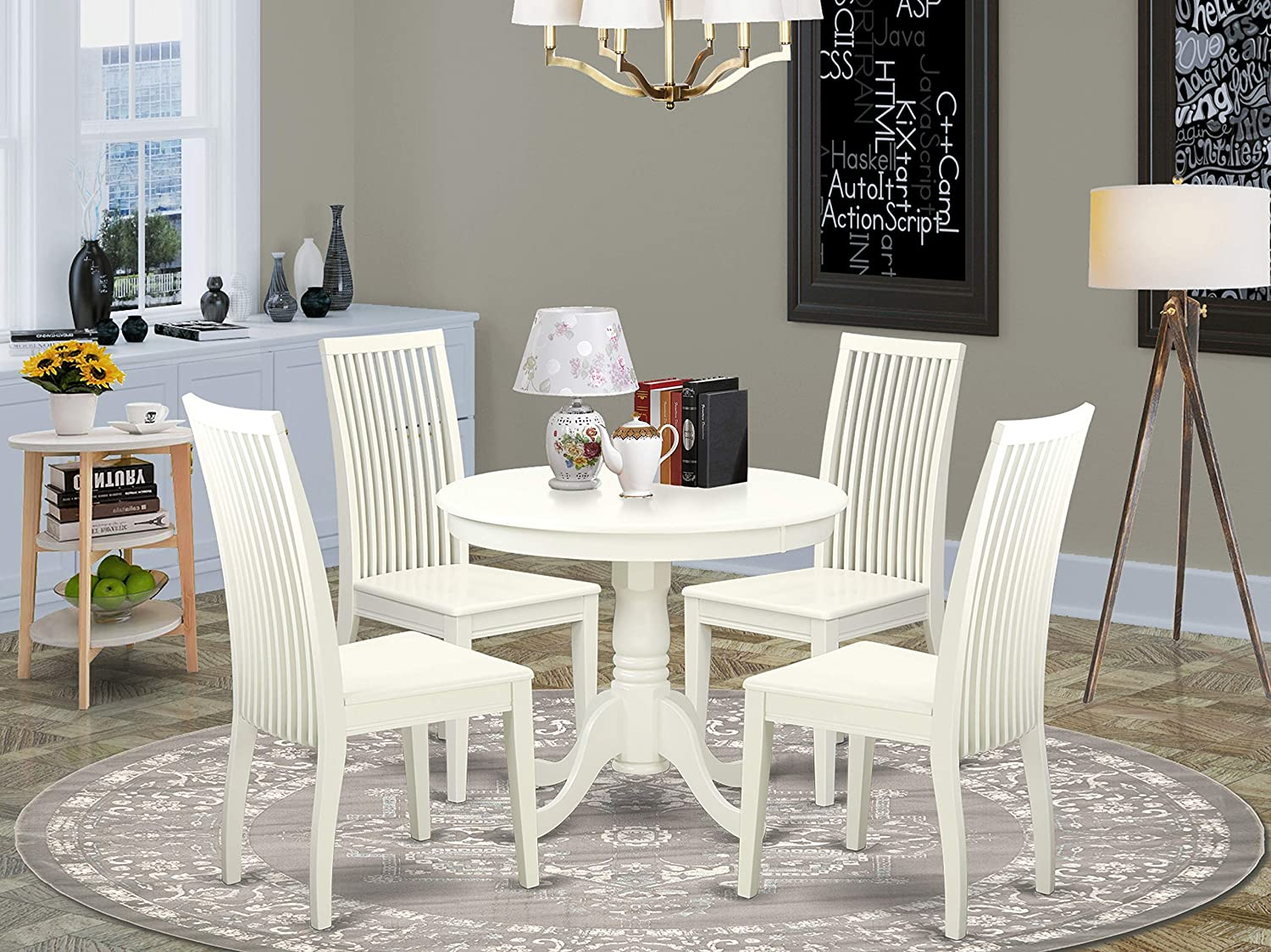 East West Furniture Round Set-4 Room W Dining Milwaukee Spring new work Mall Excellent Chairs-A