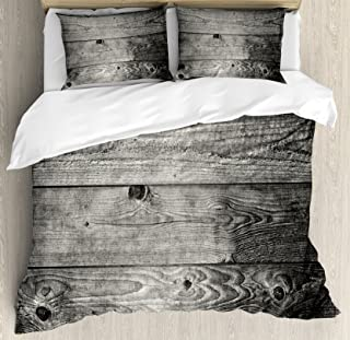 Ambesonne Dark Grey Duvet Cover Set, Ombre Style Grunge Wooden Planks Rustic Timber Oak Wall Rough Texture Image, Decorative 3 Piece Bedding Set with 2 Pillow Shams, King Size, Grey Black