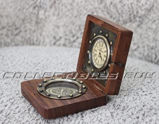 Nautical Ship Compass Wooden Box Compass & Watch Vintage Gift