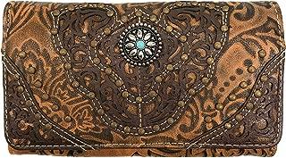 Zelris Women Western Floral Damask Pattern Medallion Crossbody Wrist Trifold Wallet (Tan)