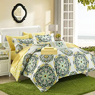 Chic Home Barcelona 6 Piece Reversible Comforter Sheet Set and Decorative Pillows Shams, Twin, Yellow